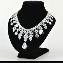 Luxury Diamond Necklace Designs White Gold Plating Cubic Zirconia