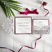 1pcs Samples Gray Square Flowers Tri Fold Square Customized Paper