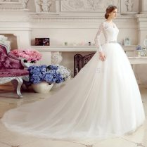 Rw011 Romantic Royal Train Wedding Dresses With Jacket Sexy V Neck