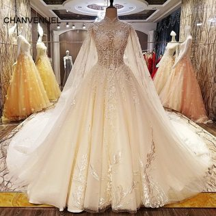 Ls5462 Unique Wedding Dresses Beading Ball Gown Lace Up Back High