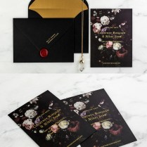 Striking Gold And Lace Wedding Invitation Kits