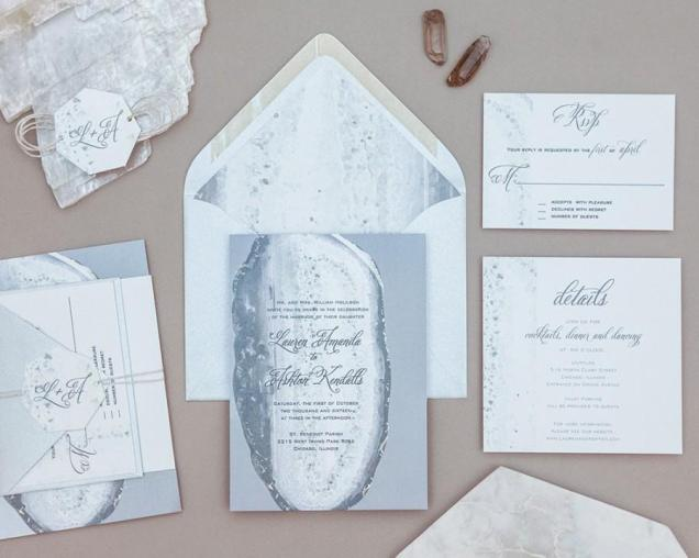 Modern Geode Wedding Invitation Set,rustic Agate Wedding
