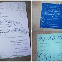Royal Blue And Light Green Modern Swirl Belly Band Wedding