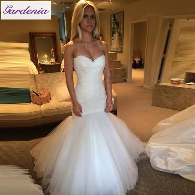 Modest Real Mermaid Wedding Dresses Lace Bridal Gown Tulle Bottom