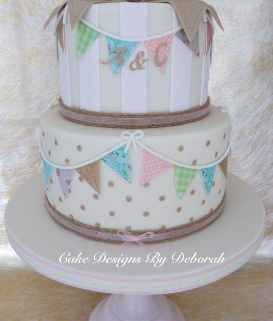 Vintage Style Engagement Cake