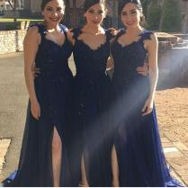 Navy Blue Cheap Bridesmaid Dresses 2016 Spaghetti A Line Chiffon