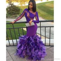 Top Lace And Satin With Tulle Bottom Mermaid Evening Dresses Jewel
