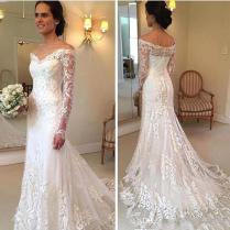 Long Sleeves Wedding Dresses Mermaid V Neck Low Back Wedding