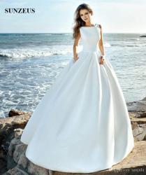 Discount Simple Elegant Satin Wedding Dresses 2018 New Design
