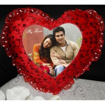 Buy Or Send Red Heart Shaped Cushion Personalised Photo With Love