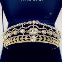 Royal Blue Tiara Bridal Crystal Tiara Crown Set Bride Gold Crowns