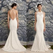 Sexy Backless Wedding Dresses Vintage Lace Mermaid Bridal Gowns