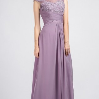 Vintage Sleeveless Lace And Chiffon Bridesmaid Dress With Illusion
