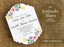 Diy Watercolor Flowers Die Cut Wedding Invitation