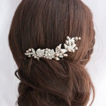 Wedding Hair Comb Bridal Hairpiece Champagne Pearl Leaf Comb