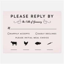 Wedding Rsvp Card Wording With Meal Choice 40 Elegant Wedding