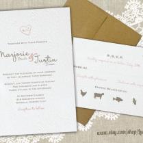 Woodland Wedding Invitation Set, Heart Carved Initials On