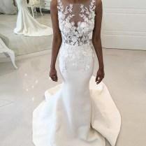 Mermaid Round Neck Sweep Train White Satin Wedding Dress With