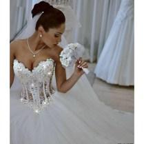 2017 Ball Gown Wedding Dresses See Through Sweetheart Corset Floor