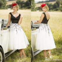 Discount 2017 Chic White And Black Tea Length Wedding Dresses