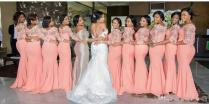2018 Arabic African Bridesmaid Dresses Coral With Half Sleeves