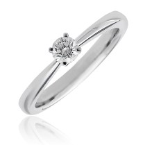 Solitaire Diamond Engagement Ring 4 Prong Trellis Setting