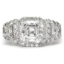 2 70ctw Asscher Cut Antique Style Three Stone Diamond Engagement
