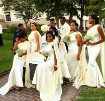 2017 New Cheap Black African Bridesmaid Dresses One Shoulder