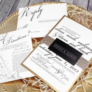 Black, White & Gold Wedding Invitation Set – Classic Modern