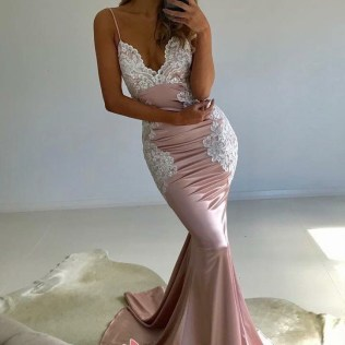 Blushing Pink Satin Mermaid Prom Dress With White Lace Appliques
