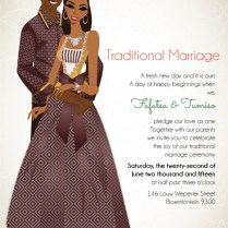 South African Sotho Traditional Wedding Invitation Card