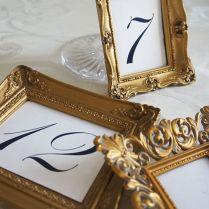 Vintage Gold Frames For Table Numbers Www Vintagedishrental Com
