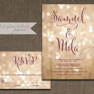 Champagne Bokeh Wedding Invitation & Rsvp 2 Piece Suite Plum Gold