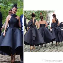 Elegant Black 2018 Arabic Short Bridesmaid Dresses One Shoulder