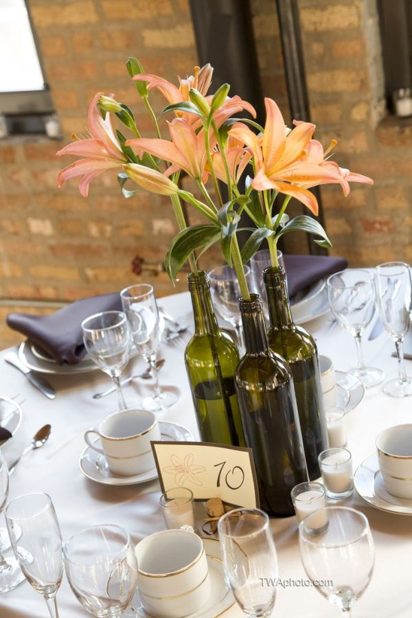 Rustic Wine Bottle Centerpieces