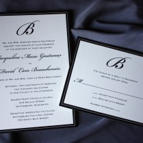 Formal Black Monogram And Border Wedding Invitations