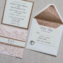 Gold Wedding Invitations Elegant Blush Pink Laser Cut Wedding