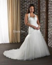 Hot Sale Plus Size Wedding Dresses Trumpet Halter Bride Gowns