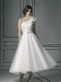 Justin Alexander Tea Length One Shouldered Wedding Dress Design