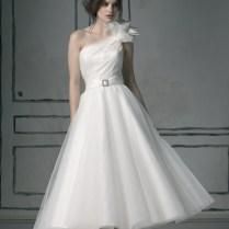 Justin Alexander Tea Length One Shouldered Wedding Dress Design