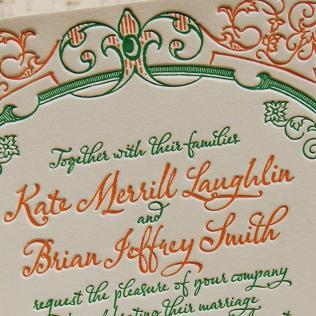 Letterpress Wedding Invitation Sample, Wedding Invitation, French