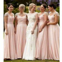 Long Chiffon Blush Pink Bridesmaid Dresses Elegant A Line