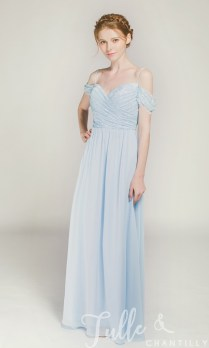 Long Off Shoulder Lace Bridesmaid Dress With Spaghetti Straps Tbqp371