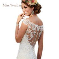 Luxury Lace Cap Sleeve Wedding Dress Gorgeous Scoop Neckline