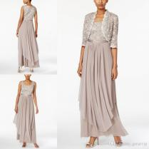 Mother Of The Bride Dresses Chiffon Sleeveless Scoop Lace Beaded