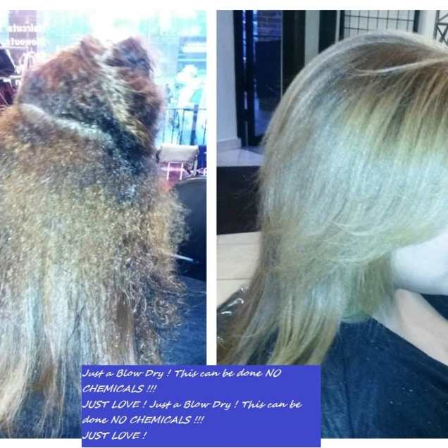 Great Just A Blow Dry ! This Can Be Done No Chemicals !!! Just