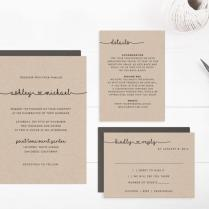 Printable Wedding Invitation Suite Template, Editable Text And