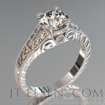 Pave Diamond Enagement Rings Antique Style Engagement Ring Round