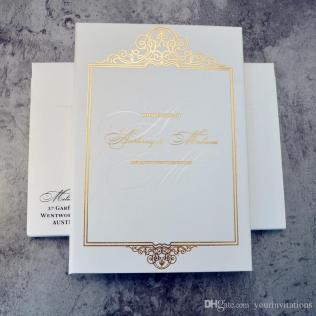 Elegant White Color Hard Cover Bi Fold Wedding Invitations With