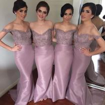 Dusty Purple Lavender Mermaid Bridesmaid Dresses Long Off